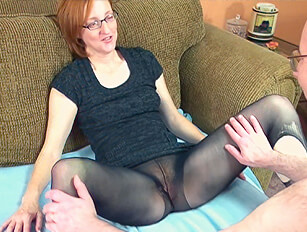 Older skinny woman with red hair and red pubic hair fucked through her ripped pantyhose