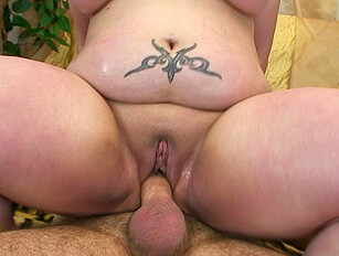Short BBW with belly overhang gets sweaty