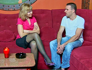 Stocking clad MILF changes into a cop oufit for a licking out and a fuck
