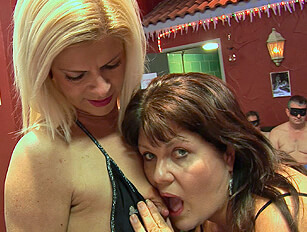 Thick and thin British mature housewives at the sex club