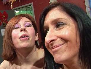 Skanky older and younger cock suckers at a blowbang